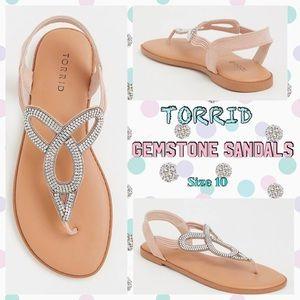 Torrid Blush Gemstone T-Strap Sandals